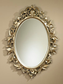 """French Regence 41"""" Oval Bevel European Style - C Scroll, Leaves, and Blossoms Mirror - Silver Finish, 5078"""