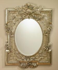 "Rococo Louis XV 55"" Oval Bevel European Style Mirror - Silver Finish, 5074"