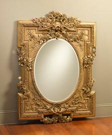 "Rococo Louis XV 55"" Oval Bevel European Style Mirror - Parcel Gilt Finish, 5073"
