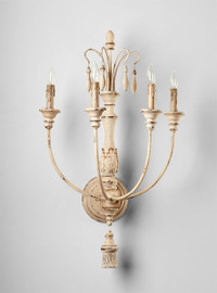 French Country Pattern - Wrought Iron and Wood Four Light Wall Sconce - Distressed White Finish