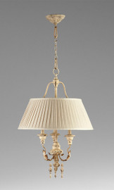 French Country Pattern - Wrought Iron and Wood Three Light Chandelier with Pleated Shade - Distressed White Finish