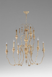 French Country Pattern - Wrought Iron and Wood Nine Light Chandelier - Distressed White Finish