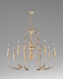 French Country Pattern - Wrought Iron and Wood Eight Light Chandelier - Distressed White Finish