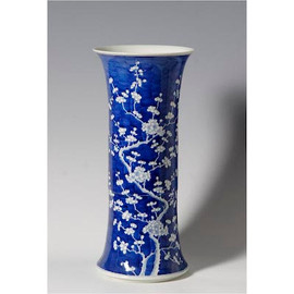 Blue and White Decorative Porcelain Umbrella Vase - 20 Inches Tall