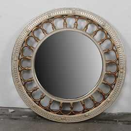 """Round Wall Mirror - 38"""" with Silver Finish and Parcel Gilt Accents, 4944"""