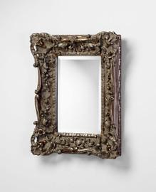 "L'italiano Fiorentino - Rectangular 27.75"" Small Elegant Beveled Glass Wall Mirror - Gilt Silver Finish, 4912"