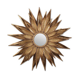 """You are My Sunshine, Antiqued Gold 34.5"""" Round Mirror, 4918"""