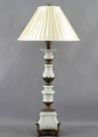 White Crackle Pattern - Luxury Hand Painted Porcelain and Gilt Bronze Ormolu - 47 Inch Buffet Lamp