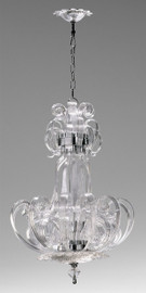 Transparent Ice Scroll Contemporary Glass Chandelier
