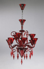 Transparent Ruby Contemporary Glass Chandelier - 9 Lights