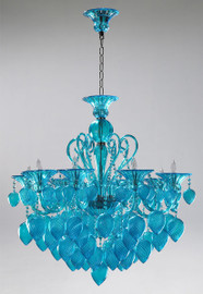 Transparent Aquamarine Glass Chandelier - Bohemian Chic Style - Eight Lights