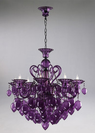 Transparent Amethyst Glass Chandelier - Bohemian Chic Style - Eight Lights