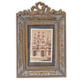 Reverse Hand Painted Antiqued Mirror 4 X 6 Photo Frames - Set of Two - Antique Silver Gilt Finish 4877 CIT