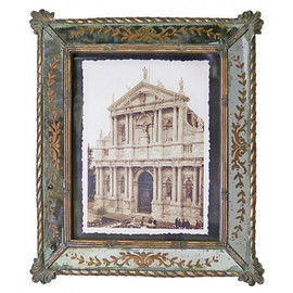Reverse Hand Painted Antiqued Mirror 8 X 10 Photo Frames - Set of Two - Antique Silver Gilt Finish