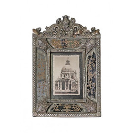 Reverse Hand Painted Antiqued Mirror 4 X 6 Photo Frames - Set of Two - Antique Silver Parcel Gilt Finish