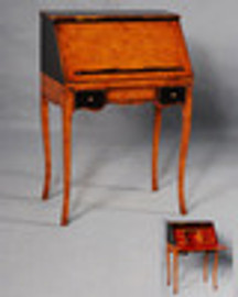 Bois Noirci Afflige - French Louis Style 25 Inch Small Secretary | Desk - Wood Tone and Ebony Black Painted Finish