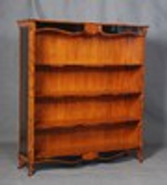 Bois Noirci Afflige - French Style 67 Inch Bookcase - Wood Tone and Ebony Black Painted Finish