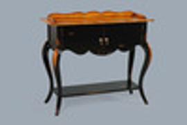 Bois Noirci Afflige - French Louis Style 39 Inch Entry Console   Sideboard - Wood Tone and Ebony Black Painted Finish