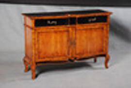 Bois Noirci Afflige - French Louis Style 55 Inch Entry Chest   Sideboard - Wood Tone and Ebony Black Painted Finish