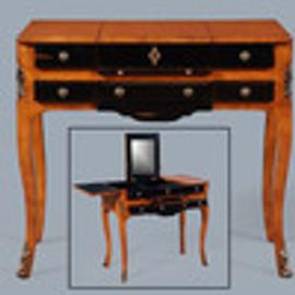 Bois Noirci Afflige - French Style 33 Inch Boudoir Vanity - Wood Tone and Ebony Black Painted Finish