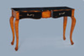 Bois Noirci Afflige - Contemporary French Style 49 Inch Sofa Console   Entry Table - Wood Tone and Ebony Black Painted Finish