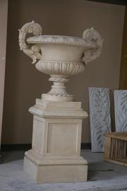 Cast, 67 Inch Palace Cassolette Urn Planter on Plinth
