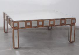 "Carres Biseautes - Beveled Mirror Tile 41"" Cocktail, Coffee Table - Silver Parcel Gilt Finish, 4851"