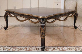 A Tresse' Le Ruban - 48 Inch Cocktail | Coffee Table - Warm Wood Tone and Gold Finish