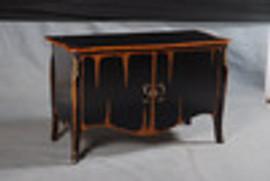 Bois Noirci Afflige - French Louis Style 55 Inch Bombe' Entry Chest   Sideboard - Wood Tone and Ebony Black Painted Finish