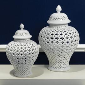 Pierced White Porcelain 11.5 Inch Temple Jar | Lantern
