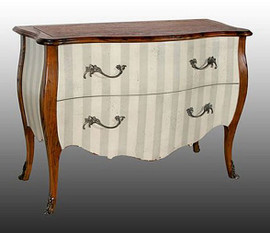 Contemporary Louis XIV Style - 47 Inch Bombe' Commode | Entry Chest | Dresser - Wood Tone and Painted Finish