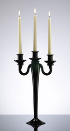 Ebony Black Finely Finished Glass, Contemporary Style, 15 Inch Three Taper Candle Candelabrum