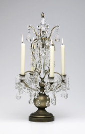 Louis XIV Iron and Crystal Taper Candle Holder, Baroque Style 24.5 Inch Candelabrum, 4820