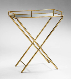"""Iron Bamboo and Glass Mirror Tray Table, 32"""" Rectangular Shape, Gold Leaf Finish, 4817"""