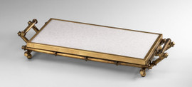 Iron Bamboo and Marble Serving Tray, 26 Inch Rectangular Shape, Antiqued Gold Finish