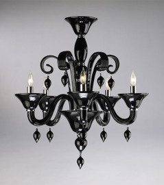 Ebony Black Finely Finished Glass 24 Inch Chandelier - Contemporary Style - Five Lights