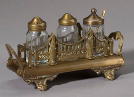 Bridge Motif Solid Brass Condiment Set, Antiqued Brass Finish