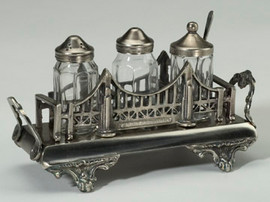 Bridge Motif Solid Brass Condiment Set, Silver Wash Finish