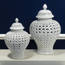 Pierced White Porcelain 16 Inch Temple Jar | Lantern
