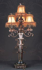 Iron Scroll, 39.5 Inch Electric Candelabrum Lamp, Antique Finish