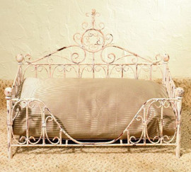 The Pampered Pet - Iron Scroll Pet Bed - Distressed White Finish