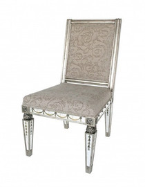 Reverse Hand Painted Silver Mirror - Side Chair - Louis XVI Neo Classical Style