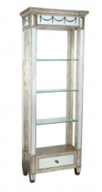 Reverse Hand Painted Silver Mirror - Three Shelf Etagere, Display Cabinet - Louis XVI Neo Classical Style