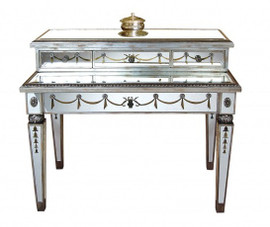 Reverse Hand Painted Silver Mirror - Deluxe Bureau Plat Writing Desk - Louis XVI Neo Classical Style