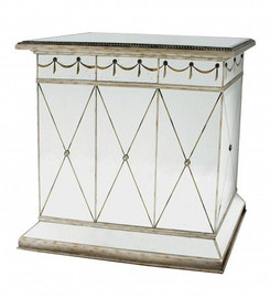 Reverse Hand Painted Silver Mirror - Bar, Luxury Home Entertaining - Louis XVI Neo Classical Style