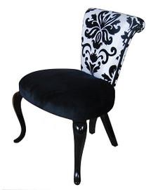 Black & White Damask Print - Hardwood 33 Inch Accent Side Chair - Ebony Finish