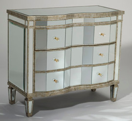 """Silver Beveled Glass Mirror - 38"""" Chest of Drawers, 4773"""