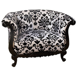 Black & White Damask Print Hardwood Hand Carved - 48 Inch Tub Bergere Chair - Ebony Finish