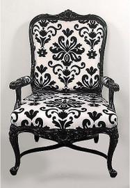 Black & White Damask Print Hardwood Hand Carved - 46 Inch Arm Chair - Ebony Finish