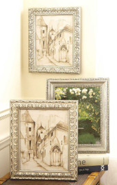 Silver Finish 8 X 10 Wood Photo Frame, Ornately Carved, Set of Three